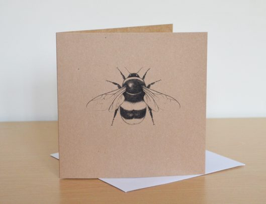 Bumble Bee Art Recycled Greetings Card