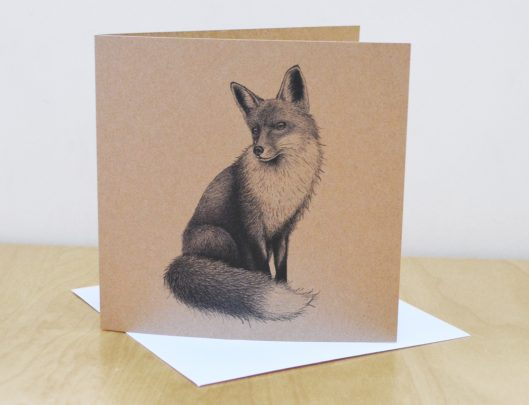 Fox Art Illustration recycled greetings card
