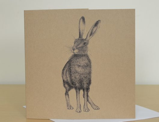 Hare art recycled card