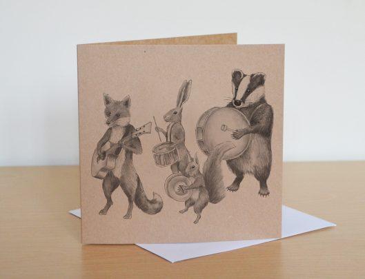 Marching animal band greetings card