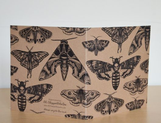 Moth collection art eco card